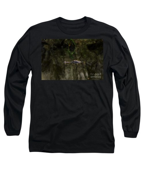 Long Sleeve T-Shirt featuring the photograph Alligator In Swamp by Dan Friend