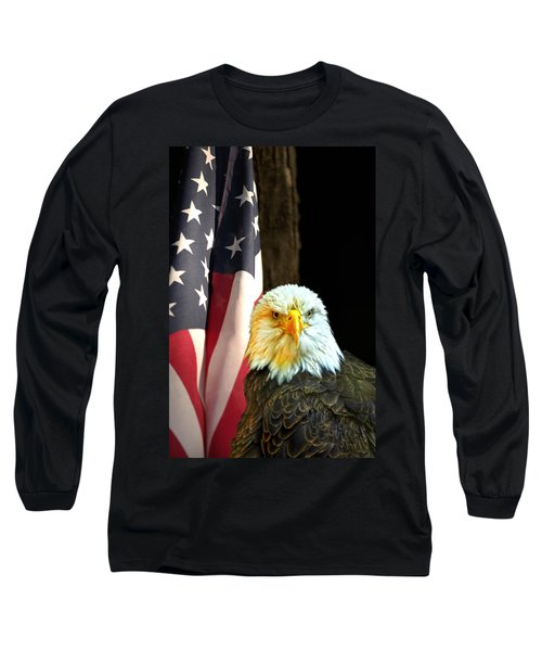 Long Sleeve T-Shirt featuring the photograph American Eagle And American Flag by Randall Branham