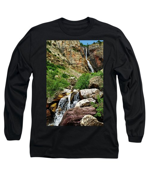 Long Sleeve T-Shirt featuring the photograph Apikuni Falls by Greg Norrell