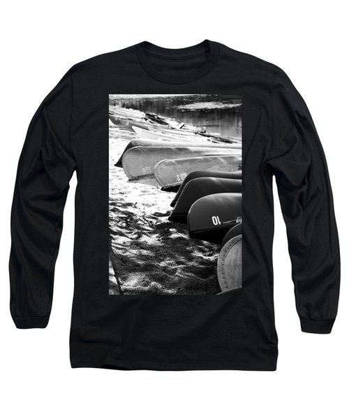 Long Sleeve T-Shirt featuring the photograph Beached Kayaks by Julia Wilcox