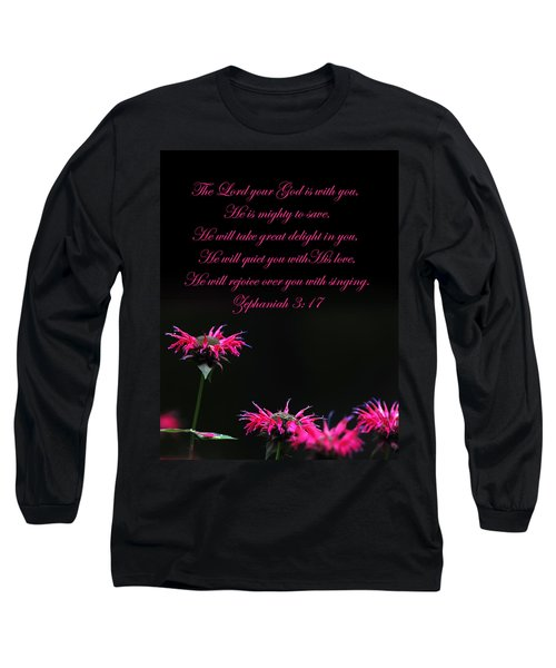 Long Sleeve T-Shirt featuring the photograph Bee Balm And Bible Verse by Randall Branham