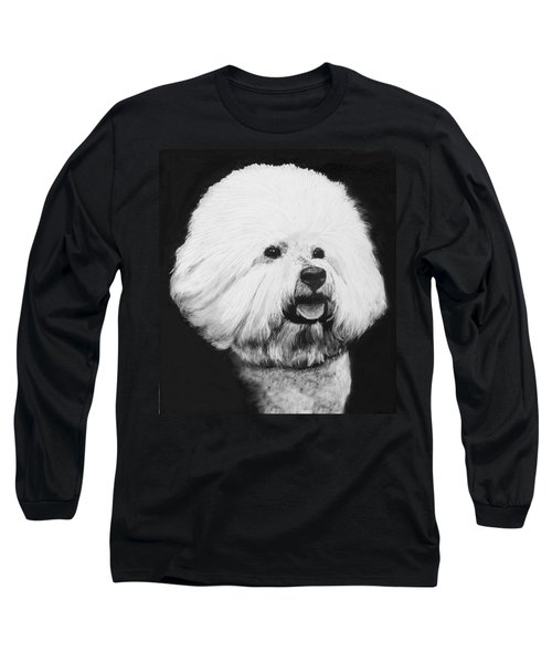 Long Sleeve T-Shirt featuring the drawing Bichon Frise by Rachel Hames