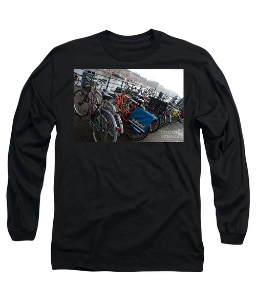 Long Sleeve T-Shirt featuring the digital art Bikes In Amsterdam by Carol Ailles