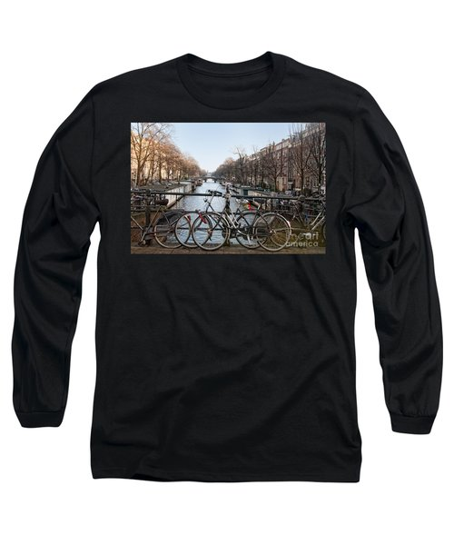 Long Sleeve T-Shirt featuring the digital art Bikes On The Canal In Amsterdam by Carol Ailles