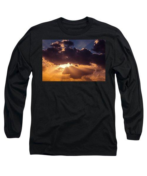 Bird In Sunrise Rays Long Sleeve T-Shirt