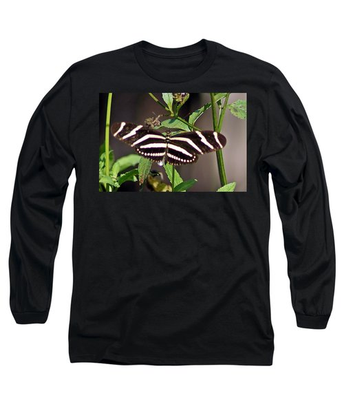 Black Butterfly Long Sleeve T-Shirt by Joe Faherty