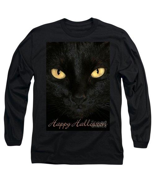 Black Cat Halloween Card Long Sleeve T-Shirt