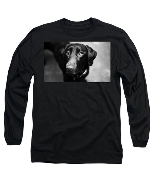 Black Labrador  Long Sleeve T-Shirt by Sumit Mehndiratta