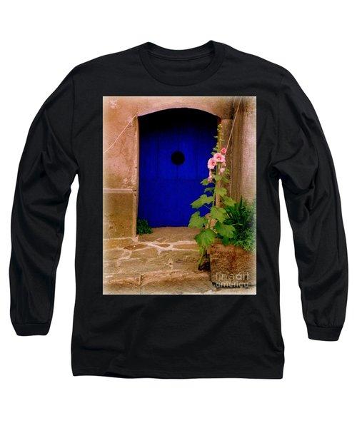 Blue Door And Pink Hollyhocks Long Sleeve T-Shirt