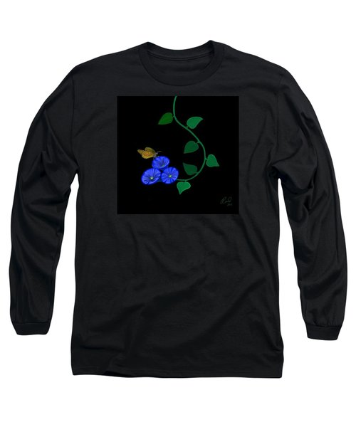 Long Sleeve T-Shirt featuring the painting Blue Flower Butterfly by Rand Herron
