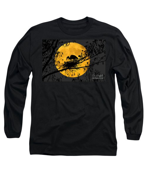 Long Sleeve T-Shirt featuring the photograph Blue Heron On Roost by Dan Friend