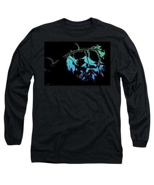 Long Sleeve T-Shirt featuring the photograph Blue On Black by Lauren Radke