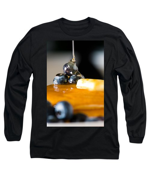 Blueberry Butter Pancake With Honey Maple Sirup Flowing Down Long Sleeve T-Shirt
