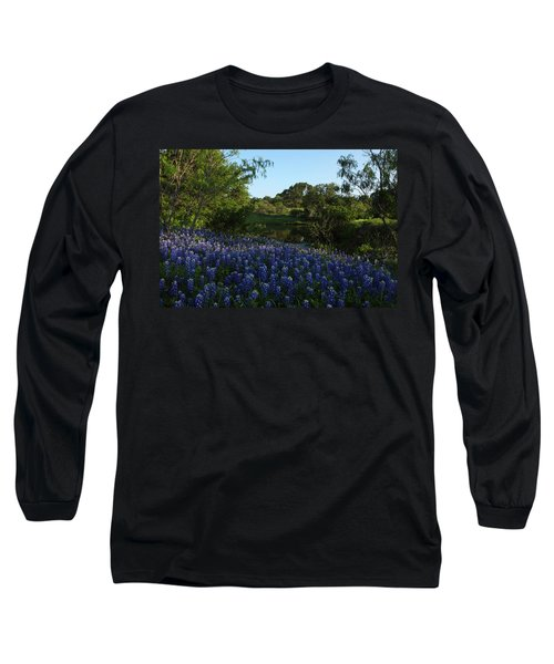 Bluebonnets At The Pond Long Sleeve T-Shirt