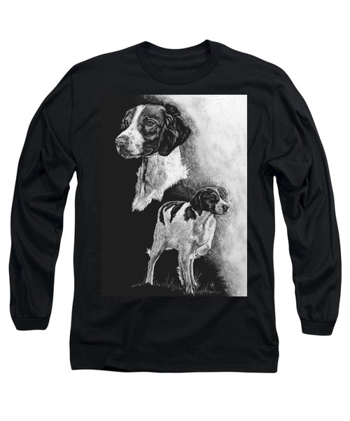 Long Sleeve T-Shirt featuring the drawing Brittany by Rachel Hames
