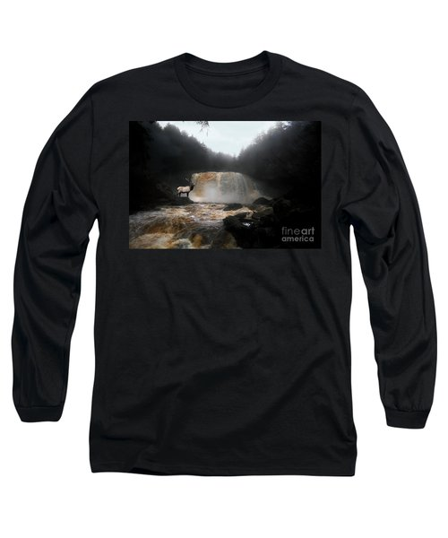 Long Sleeve T-Shirt featuring the photograph Bull Elk In Front Of Waterfall by Dan Friend