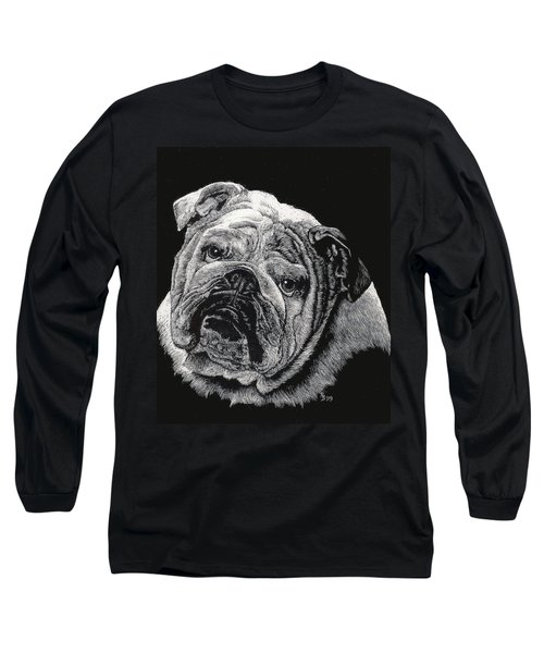 Long Sleeve T-Shirt featuring the drawing Bulldog by Rachel Hames