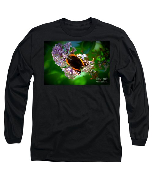 Butterfly On Lilac Long Sleeve T-Shirt by Kevin Fortier