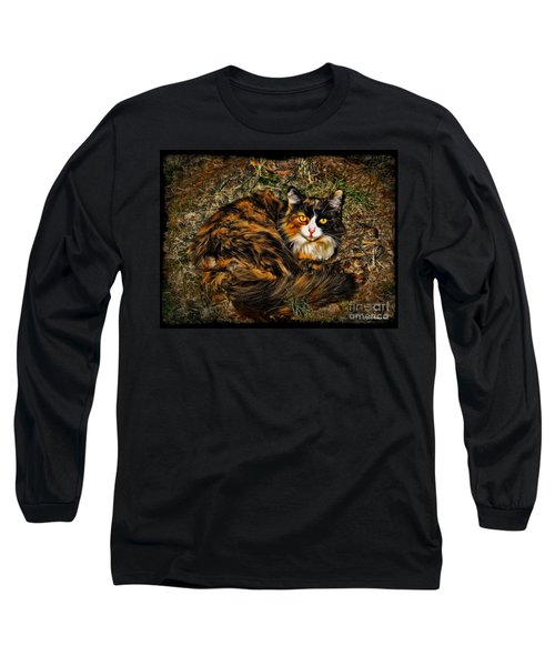Calico Cat Long Sleeve T-Shirt by Joan  Minchak