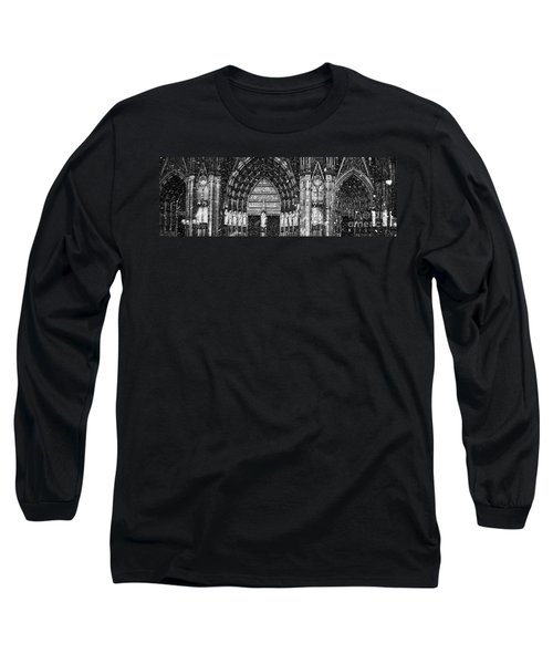 Long Sleeve T-Shirt featuring the photograph Cathedral In The Snow Panorama by Andy Prendy