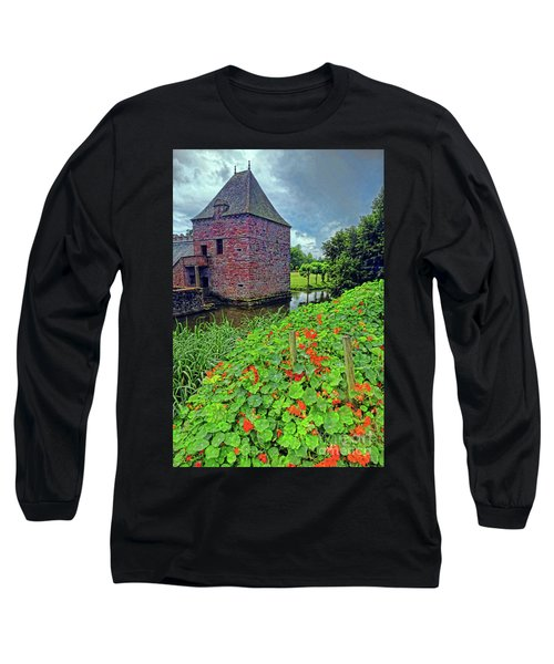 Long Sleeve T-Shirt featuring the photograph Chateau Tower And Nasturtiums by Dave Mills