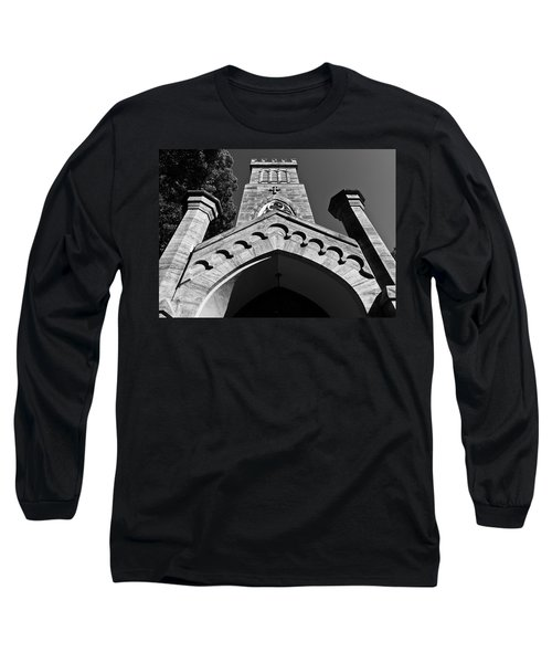 Church Facade In Black And White Long Sleeve T-Shirt