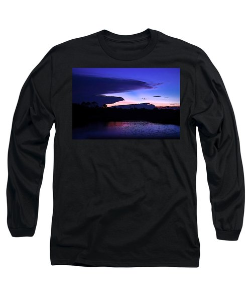 Long Sleeve T-Shirt featuring the photograph Clouded Sunset Over The Tomoka by DigiArt Diaries by Vicky B Fuller