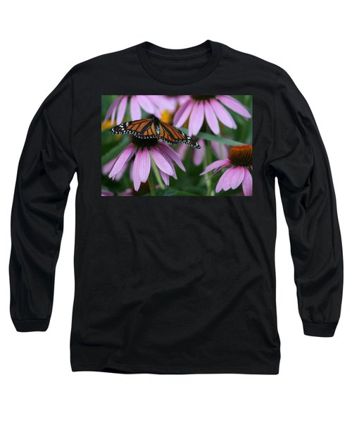 Long Sleeve T-Shirt featuring the photograph Cone Flowers And Monarch Butterfly by Kay Novy