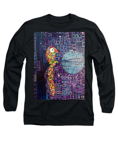 Long Sleeve T-Shirt featuring the painting Confetti Bird by Donna Howard