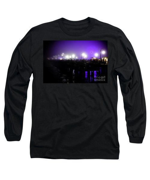 Cool Night At Santa Monica Pier Long Sleeve T-Shirt by Clayton Bruster