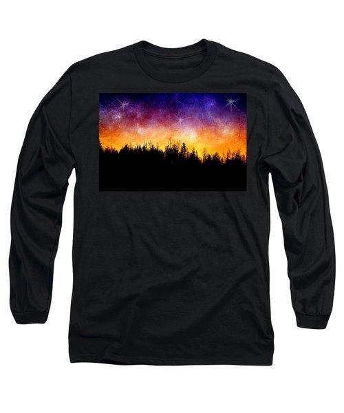 Cosmic Night Long Sleeve T-Shirt by Ellen Heaverlo