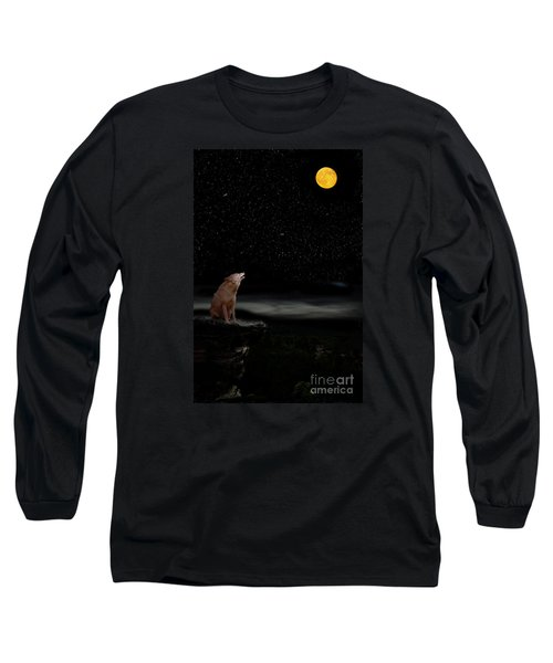 Long Sleeve T-Shirt featuring the photograph Coyote Howling At Moon by Dan Friend