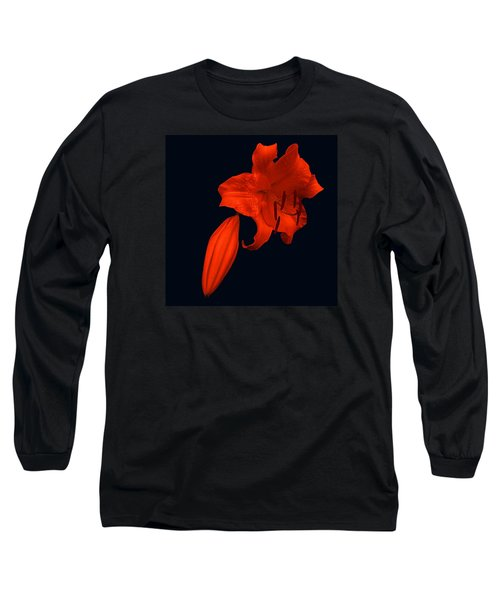 Crimson Lily Long Sleeve T-Shirt by Nick Kloepping