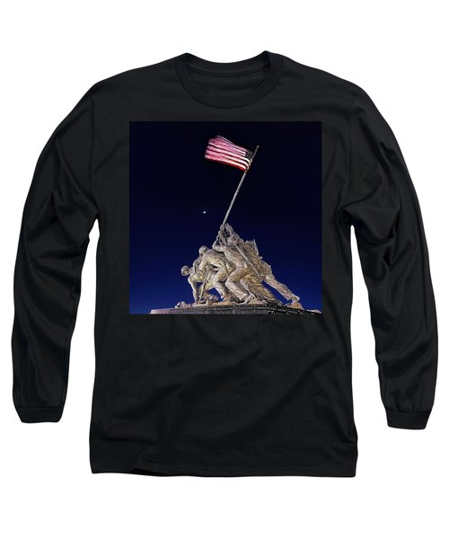 Digital Drawing - Iwo Jima Memorial At Dusk Long Sleeve T-Shirt