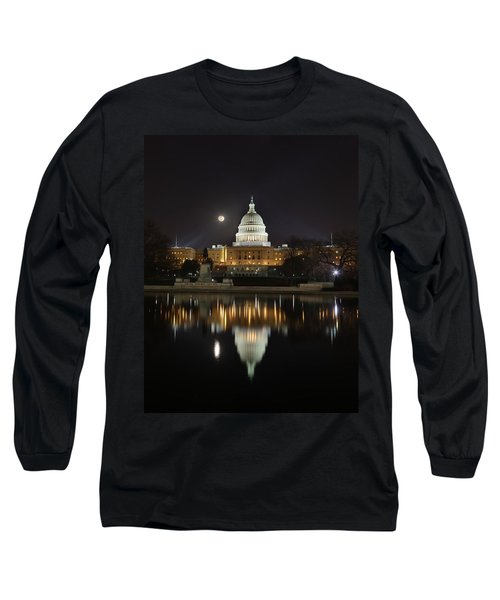 Digital Liquid - Full Moon At The Us Capitol Long Sleeve T-Shirt