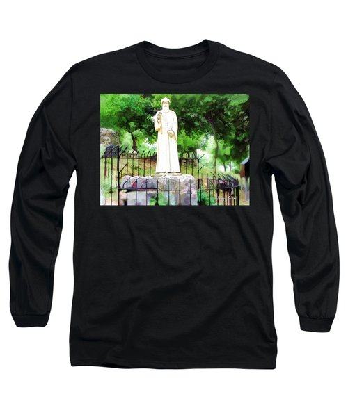 Do-00541 St Charbel Statue Long Sleeve T-Shirt by Digital Oil