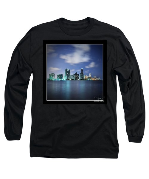 Downtown Miami At Night Long Sleeve T-Shirt by Carsten Reisinger