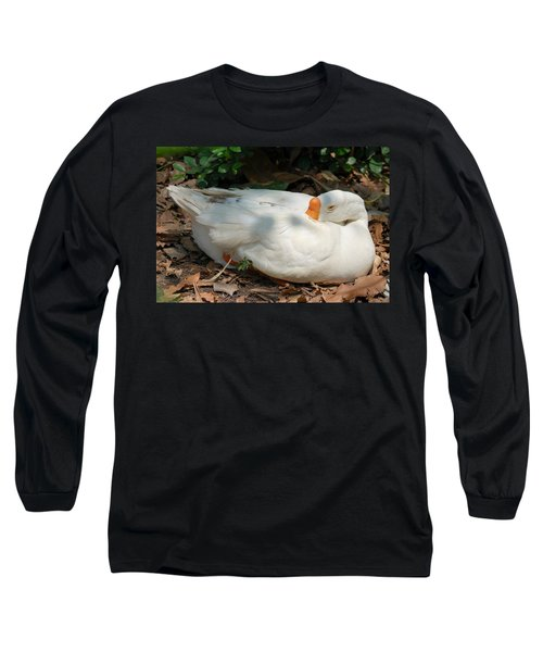 Long Sleeve T-Shirt featuring the photograph Duck Resting by Fotosas Photography