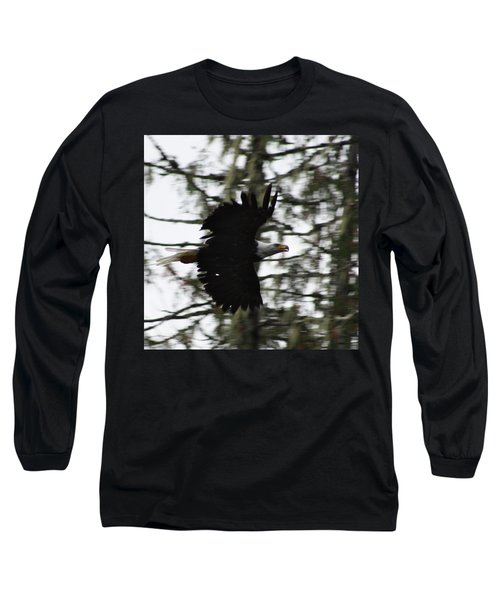 Long Sleeve T-Shirt featuring the photograph Eagle Fly By by Cathie Douglas