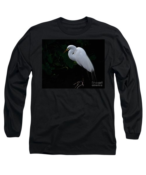 Egret On A Branch Long Sleeve T-Shirt