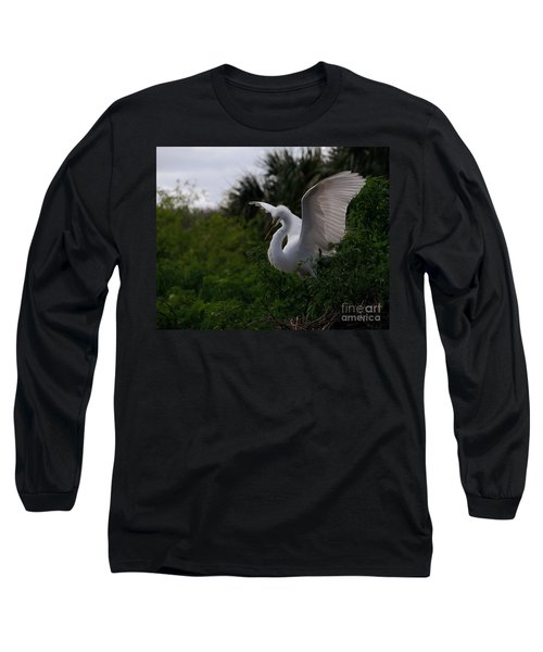 Long Sleeve T-Shirt featuring the photograph Egret Wings by Art Whitton