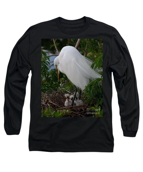 Egret With Chicks Long Sleeve T-Shirt