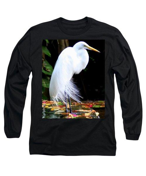 Elegant Egret At Water's Edge Long Sleeve T-Shirt