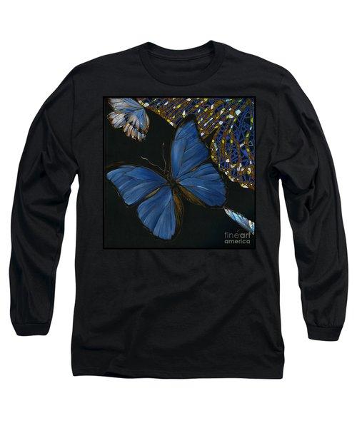 Long Sleeve T-Shirt featuring the painting Elena Yakubovich - Butterfly 2x2 Lower Left Corner by Elena Yakubovich