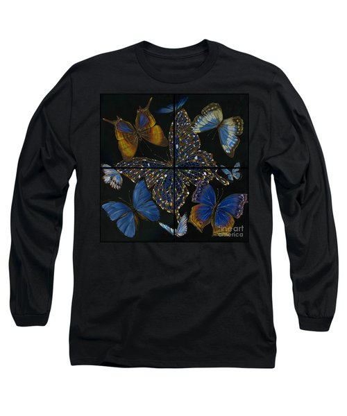 Long Sleeve T-Shirt featuring the painting Elena Yakubovich Butterfly 2x2 by Elena Yakubovich