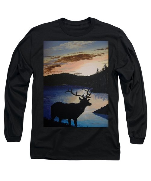 Long Sleeve T-Shirt featuring the painting Elk At Sunset by Norm Starks