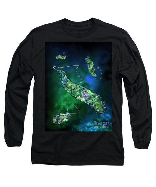 Long Sleeve T-Shirt featuring the digital art Euglena Blue by Russell Kightley