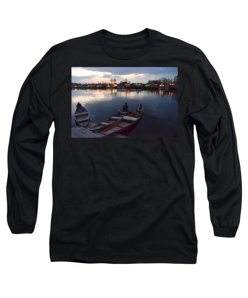 Evening On Dal Lake Long Sleeve T-Shirt by Fotosas Photography