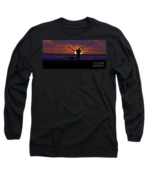 Evening Run On The Beach Long Sleeve T-Shirt by Clayton Bruster
