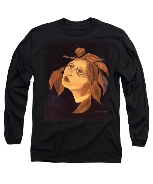 Face In Autumn Leaves Long Sleeve T-Shirt